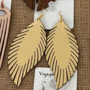GOLD Laser Feather Earrings ||
